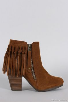 Boho Indie Faux Suede Individual Fringe Ankle Boots Booties-Camel Brown