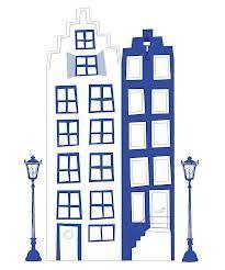 Grachtenpandjes in Delfts blauw