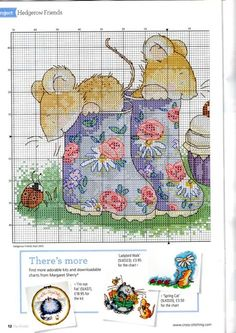 Mice in garden boots part 1 free cross stitch pattern Baby Cross Stitch Patterns, Cross Stitch For Kids, Cross Stitch Love, Cross Stitch Animals, Cross Stitch Charts, Cross Stitching, Cross Stitch Embroidery, Embroidery Patterns, Margaret Sherry