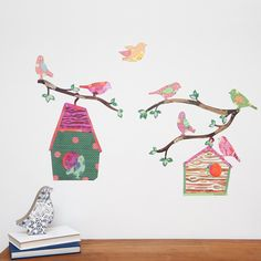 Bird, Bird House and Branch Wall Stickers | giftwrappedandgorgeous.co.uk