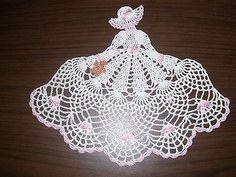 New Hand Crocheted Crinoline Girl/Lady Doily w/teddy bear AFATC
