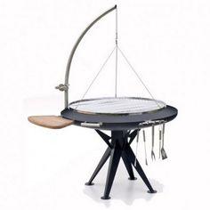Super barbecue design en inox au feu de bois. (balgrill-profigriller-1200-haenger-runder-rost-edelstahl-winde)