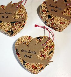 Items similar to 100 Bird Seed Heart Shaped Favors - Bird shaped personalized bird seed favors on Etsy Creative Wedding Favors, Wedding Favours, Wedding Gifts, Wedding Ideas, Bird Seed Wedding Favors, Wedding Stuff, Wedding Invitations, 50th Wedding Anniversary, Anniversary Parties