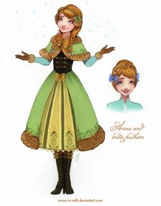 My loli-version of Anna. I don't like her pink cape, and thats why I decided to dress her in a green coat with dappled deer-colored fur. Anna and lolita fashion Frozen Disney, Frozen Movie, Disney Magic, Frozen Anime, Frozen Art, Disney Fan Art, Disney Princess Art, Princess Anna, Disney Dream