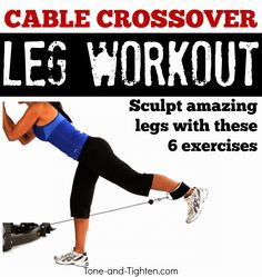 Tone & Tighten: Best lower body exercises on cable machine - Leg workout on crossover machine at gym Cable Machine Workout, Cable Workout, Best Leg Workout, Perfect Workout, Fitness Tips, Fitness Motivation, Workout Fitness, Yoga Fitness, Health Fitness