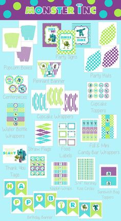 Monsters Inc Party Printables Free | Diy Monster Inc Inspired Kids Birthday Party Digtial by zsbows, $20.00