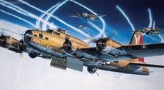 B-17F Flying Fortress -- an updated version of the B-17E, this plane featured a rear-mounted gun for defense of what had been the Flying Fortress' blind spot.  (Academy Models - packaging art)