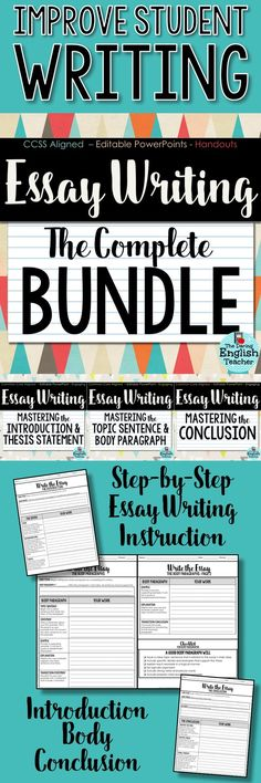 Improve student writing with step-by-step writing instruction that breaks down the essay writing process. This writing unit is designed for middle school and high school English students.