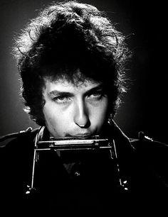 """ b/w with harmonica, circa 1965. Dylan, Bob. """