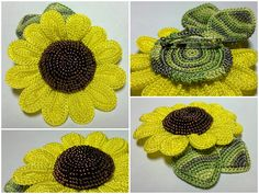 sunflower with beaded center: tutorial