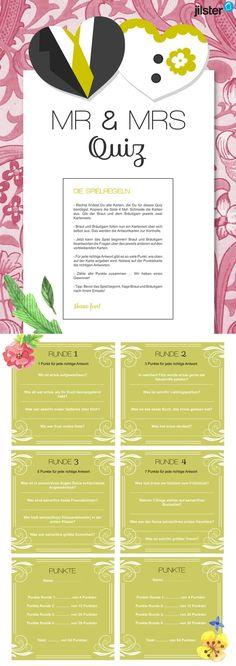 Tolle Vorlage für den Hochzeitstest in der Hochzeitszeitung. Weitere Vorlagen findest du auf jilster.de! #hochzeitstest #hochzeitszeitung  #mr&msquiz