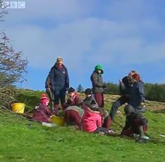 Ballaghagen still from some Irish Language show on the BBC! Muggins there can be identified by red hair and waterproofs,giving hell to someone on the  right ;)