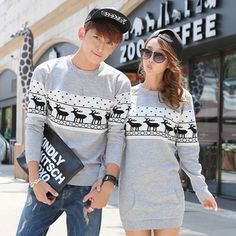 2014 Winter Women Sweaters And Pullovers Long Sleeve Oversized Couple Matching Christmas Sweaters Deer Cashmere Sweater Dresses-in Pullovers from Apparel & Accessories on Aliexpress.com   Alibaba Group