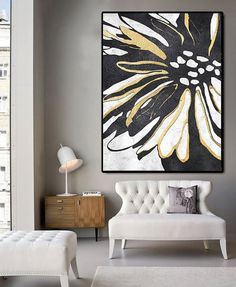 Huge Abstract Painting On Canvas, Vertical Canvas Painting, Extra Large Wall Art, Abstract Art Flower, Black white. Black And White Painting, White Art, Black White, Diy Wall Art, Wall Decor, Decor Room, Bedroom Decor, Extra Large Wall Art, Large Art
