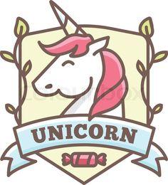 Stock vector of 'Vector cute unicorn logo for baby shop in cartoon heraldic style' Unicorn Kids, Unicorn Art, Cute Unicorn, Unicorn Quotes, Unicorn Logo, Unicorn Tattoos, Unicorns, Football Art, Fantasy Football