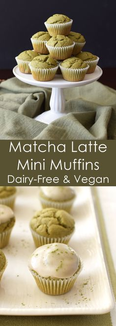 These fast & easy matcha latte mini muffins have a mild green tea flavor and delicate, almost cupcake-like crumb, but are 100% whole wheat and vegan.