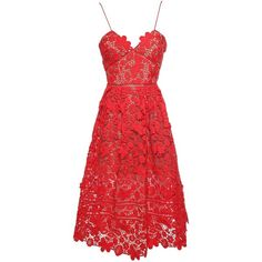 Self-Portrait Azaelea  3-D Floral Guipure Lace Midi Dress ($455) ❤ liked on Polyvore featuring dresses, rosso, floral dresses, v neck cocktail dress, red v neck dress, red dress and lace dress