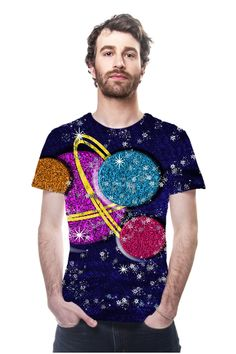 By Phyllis Braham, OArtTee specializes in creating amazing, vibrant and colorful Wearable Art - Fantasy planets in outer space in shades of blue, pink, purple gold and orange designer fashion tee shirt tops