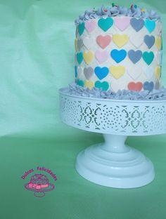 Dulces felicidades: Layer cake de corazones: bizcocho de chocolate y b...