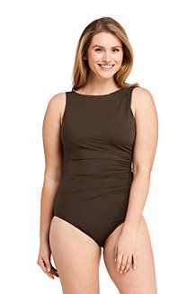 Try our Women's Slender High-neck One Piece Swimsuit with Tummy Control at Lands' End. A more comfortable life starts here. Brown Swimsuit, One Piece Swimsuit, Jersey Maxi Skirts, High Neck One Piece, Latest Fashion For Women, Womens Fashion, Striped Jersey, Rain Wear, Swimsuits