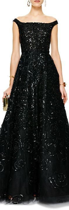 Oscar de la Renta Sequined Off-the-Shoulder Tulle Gowns