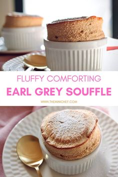 This deliciously comforting Earl Grey soufflé recipe is the perfect dessert to round out any meal! The classic light and fluffy soufflé is paired with Earl Grey tea to create a refreshing and relaxing dessert. Baking Recipes, Cake Recipes, Gourmet Recipes, Bread Recipes, Healthy Recipes, Easy Desserts, Delicious Desserts, Souffle Recipes, Grey Tea