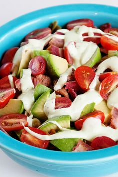 Bacon Avocado Tomato Pasta Salad with Avocado Ranch Dressing from @Kristen @DineandDish