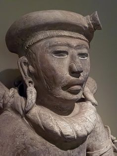 Head of Another Seated Figure from Veracruz, Mexico 800-1200 CE Ceramic