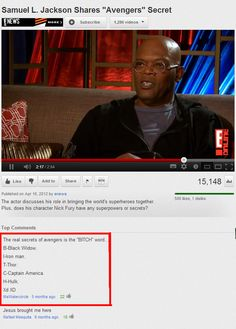 The real secrets of avengers is the ''BITCH'' word - Samuel L.Jackson,the avengers