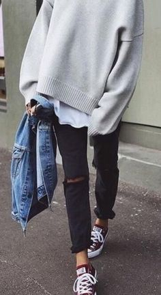 Ideas How To Wear Red Converse Outfits Jeans Mode Outfits, Fall Outfits, Casual Outfits, Fashion Outfits, Womens Fashion, Fashion Ideas, Jeans Fashion, Outfit Winter, Autumn Outfits Women