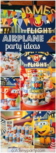 have to see this super fun airplane boy birthday party! See more party ideas at !You have to see this super fun airplane boy birthday party! See more party ideas at ! 1st Birthday Themes, 1st Boy Birthday, 4th Birthday Parties, 1st Birthdays, Birthday Party Decorations, Birthday Ideas, Planes Party, Airplane Party, Pink And Gold Birthday Party