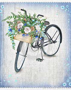 Bicicleta negra de la acuarela con la cesta hermosa de la flor Bici dibujada…