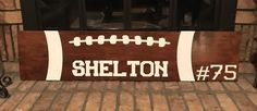 Monogrammed Wood Football Sign
