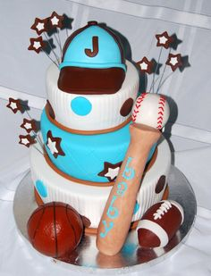 sports themed baby shower | Leelees Cake-abilities: Sports Theme Baby Shower Cake