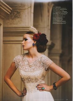 "1940's Beaded White Crown from LaKrause Vintage Collection paired with LaKrause Gold & Coloured Rhinestone Headpiece.  ""Into the Blue"" WedLuxe Summer/Fall 2013."