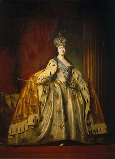 Catherine II, the Empress of Russia, by Vladimir Borovikovskiy. Catherine is posing in her coronation gown wearing the grand crown made by Jeremiya Pozie.  Her dress, crown and regalia are kept in the Diamond Fund, Moscow Kremlin. Click to enlarge.