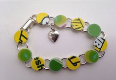 """Green and Yellow Recycled Gift Card Bracelet for Colorado State, Oregon Ducks, South Florida, 8"""" Circle Charm Bracelet on Etsy, $10.00"""