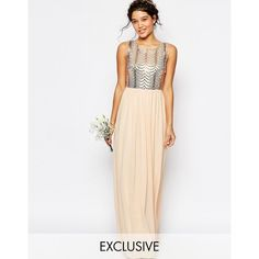 TFNC WEDDING Sequin Maxi Dress with Open Back (£53) ❤ liked on Polyvore featuring dresses, wedding dresses and pink