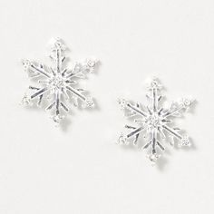Silver and Crystal Snowflake Stud Earrings – Claire's