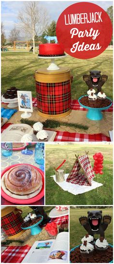 How about this lumberjack party! It has huge cinnamon rolls in a park setting! See more party planning ideas at CatchMyParty.com!
