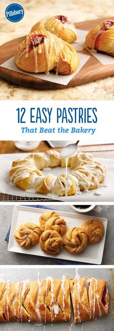 12 Easy Pastries That Beat the Bakery - Eat your favorite pastries for breakfast without leaving the house! You won't believe how easy these recipes are. Best Pastry Recipe, Pastry Recipes, Baking Recipes, Breakfast Bake, Breakfast Recipes, Breakfast Pastries, Kraft Recipes, Kraft Foods, Homemade Pastries