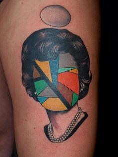 Surreal portraits tattoos by Pietro Sedda