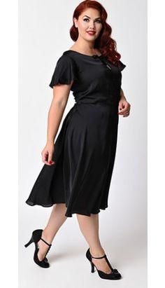 Unique Vintage Plus Size 1940s Style Black Cap Sleeve Formosa Swing Dress