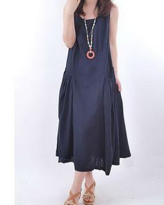 Casual Top Linen Dress 3 Colors  CustomMade Fast by zeniche, $51.00