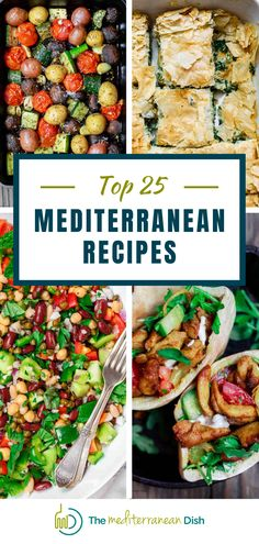 Any one of these 25 Mediterranean Recipes will be a hit! You will find the perfect dinner ideas, snacks or side dishes here! #mediterraneandishes #dinnerideas #sidedishes Mediterranean Side Dish Recipe, Mediterranean Breakfast, Mediterranean Diet Recipes, Mediterranean Dishes, Vegetarian Recipes Easy, Clean Eating Recipes, Lunch Recipes, Healthy Recipes, Delicious Recipes