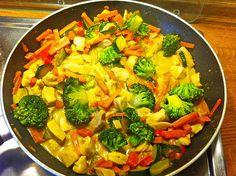Zutaten 600 g Putenbrust 200 ml Kokosmilch 400 g Erbsen mit Möhren (TK) etwas Butterschmalz n. B. Gemüsebrühe, instant Pfe...