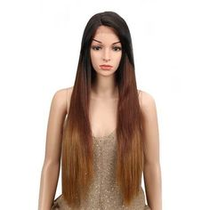 High quality lace front wig dark brown l Ombre Wigs, Ombre Hair, Synthetic Lace Front Wigs, Synthetic Hair, Wig Styles, Curly Hair Styles, Brown To Blonde, Dark Brown, Human Lace Wigs