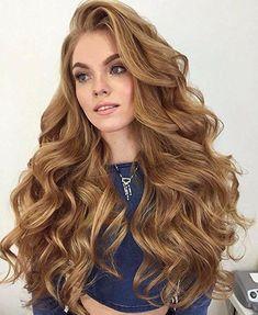 Bombshell long hair with face framing long wavy bangs and ...
