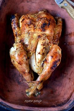 kurczak pieczony jak z rozna Bbq Grill, Grilling, Coleslaw, Mango, Turkey, Food And Drink, Chicken, Recipes, Dom