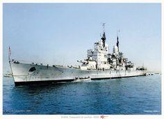 Battleship HMS Vanguard at anchor, 1946 Naval History, Military History, Hms Vanguard, Portsmouth England, Uss Constitution, Hms Victory, Capital Ship, Colouring Pics, Armada
